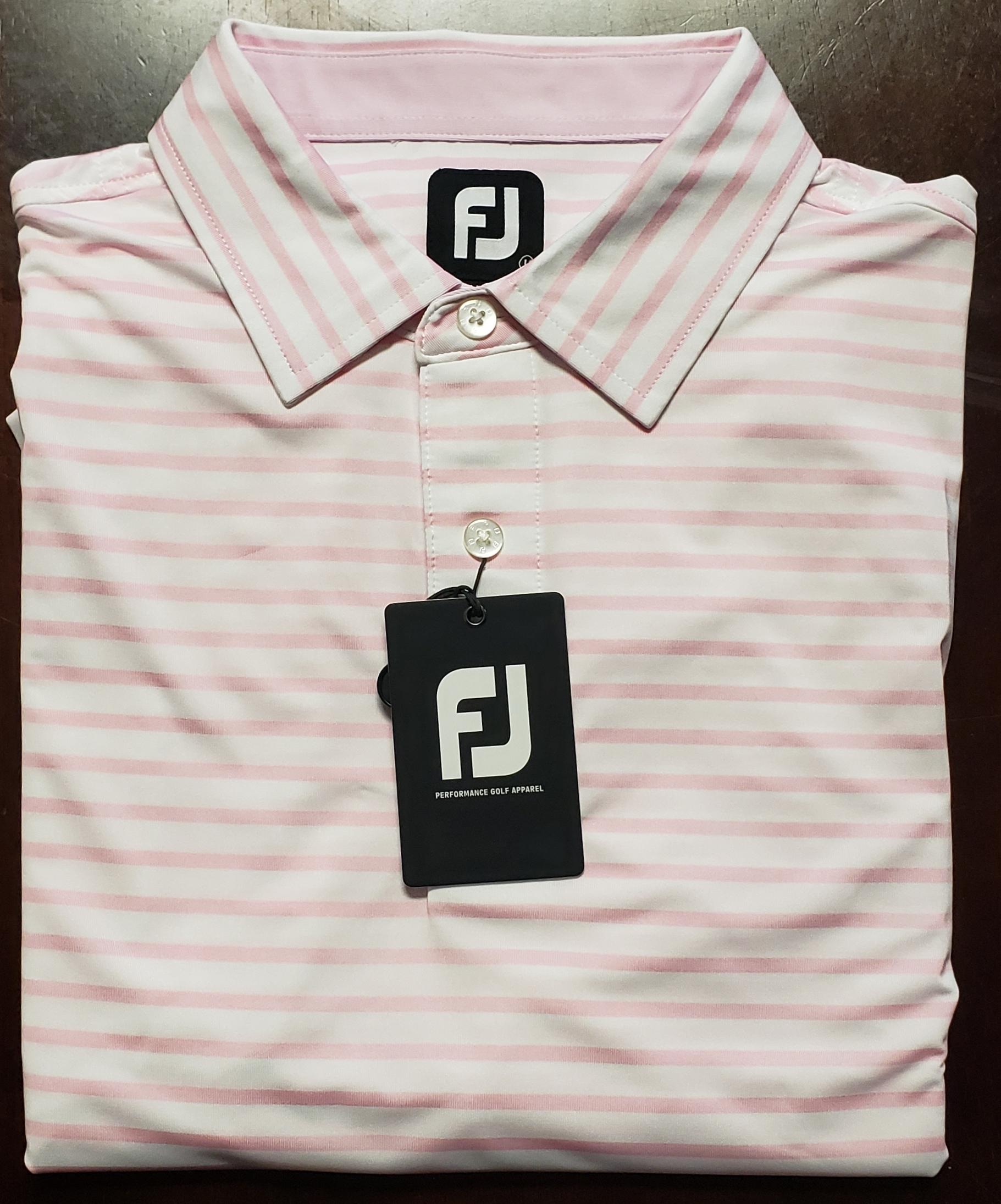FootJoy Pink/White Stripe Polo: $75